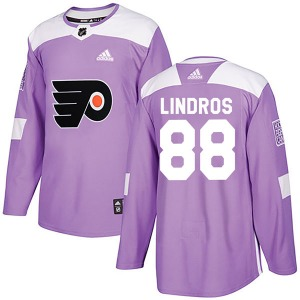 Authentic Adidas Youth Eric Lindros Purple Fights Cancer Practice Jersey - NHL Philadelphia Flyers